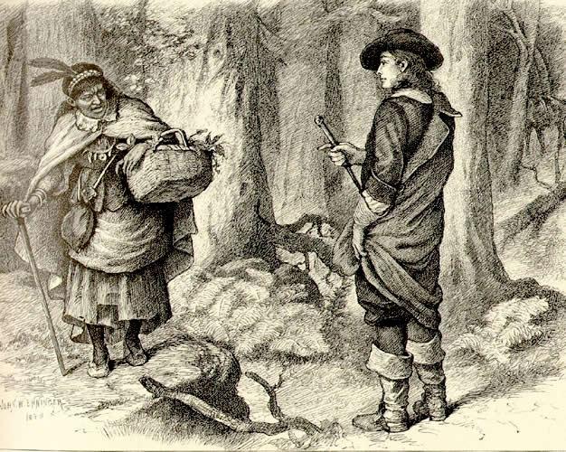 Tituba sendo presa. Gravura anônima do século XVII.